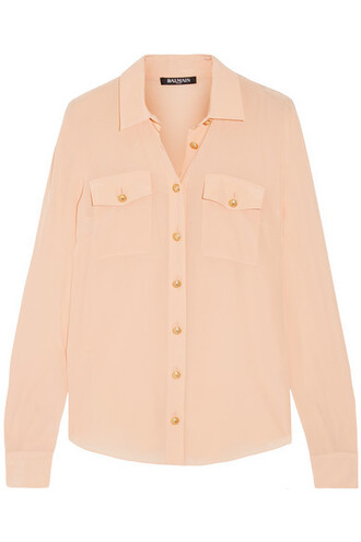 shirt silk peach top