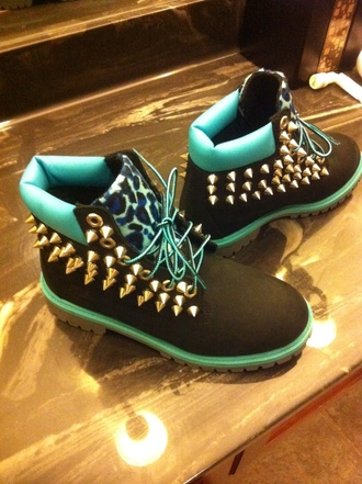 shoes blue timberlands studded shoes leapord print swag light blue boots with spikes and cheetah print spikes mint green shoes leopard print timberlands boots timberland boots