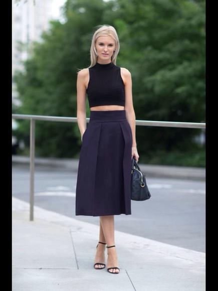model heels high heels black skirt cropped tank top cropped elegant outfit high waisted skirt midi skirt