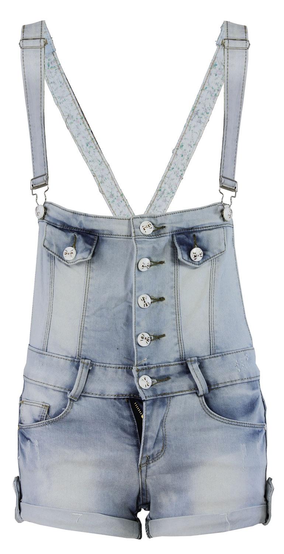 LADIES DENIM DUNGREE WOMENS SHORTS DRESS JUMPSUIT PLAYSUIT SIZE 6-14   eBay
