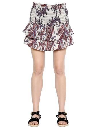 skirt cotton paisley white blue