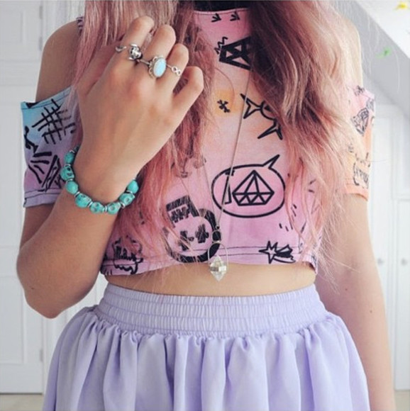 tie dye t-shirt rainbow multicolored diamonds skull speech bubbles cropped crop crop tops shirt shoulder cut-out star pink orange blue purple jewels skirt tank top