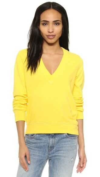 pullover v neck yellow sweater