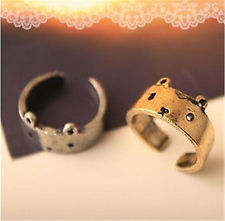 Vintage style antique bronze / silver cat ring | eBay