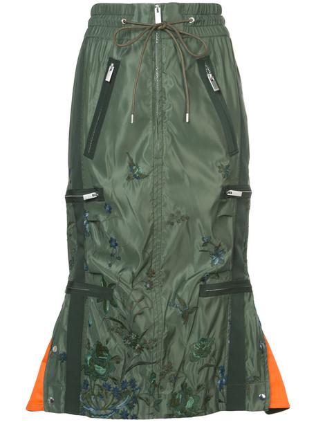 Sacai skirt embroidered women drawstring floral green