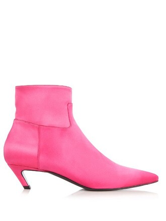 heel boot satin pink shoes