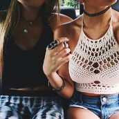 top,knit,clothes,ring,choker necklace,boho indie,crochet,boho,indie,halter neck,tumblr,crochet crop top,white,jewels,summer outfits,beach,high waisted,jeans,crop tops,white crop tops,black,denim shorts,style,fashion,ripped shorts,High waisted shorts,bra,bralette,denim,necklace,lace,lace up,lace top,diamonds,t-shirt,shirt,tank top,bustier,corset top,bracelets,leggings,aztec,sexy,classy,hot,cute,shorts,pants,blouse,monochromet,festival,boho chic,boho shirt,girly,hippie,woven top,white crochet crop,hand made,white top,summer,summer top,bikini