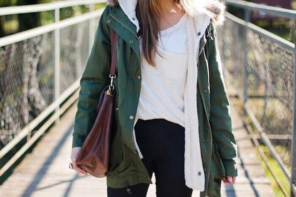 green jacket parka coat fashion lined