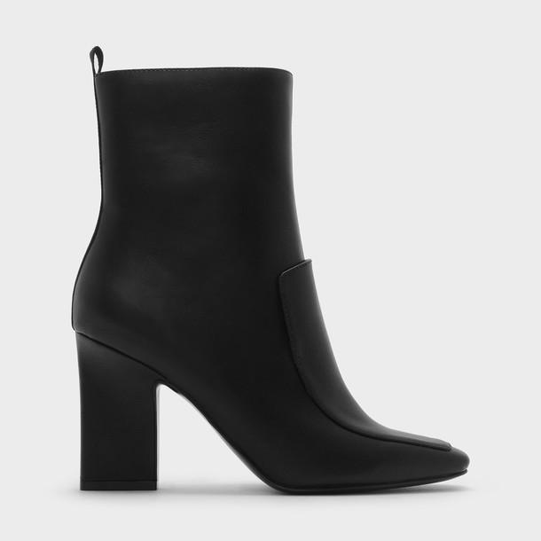 heel chunky heel heel boots black shoes
