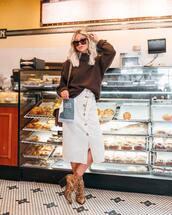 skirt,white skirt,midi skirt,button up skirt,snake print,boots,sweater,knitted sweater,oversized sweater,sunglasses