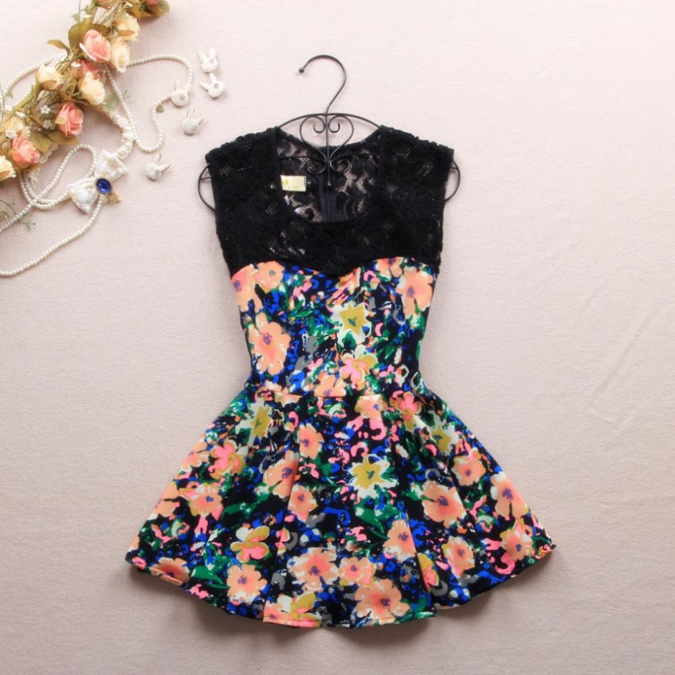 2013 Korean Style Back Zipper Flower Print Bandage Dress Lace Crochet Sleeveless Women Dresses Cocktail And Party Dresses-in Apparel & Accessories on Aliexpress.com