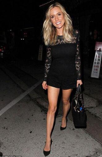 romper top lace black shorts blouse kristin cavallari