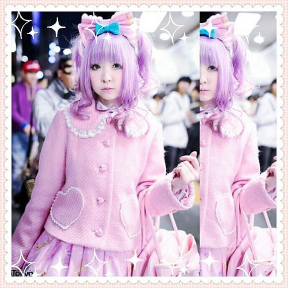 cute lolita adorable girly kawaii jacket kawaii outfit kawaii fashion asian fashion pink pastel pastel pink wig purple wig lolita fashion lolita wigs cardigan heart