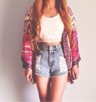 cardigan print pattern wool loose fitting stylish indian style boho chick boho shorts