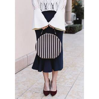bag tumblr printed bag round bag stripes skirt midi skirt blue skirt bell sleeves top white top crochet top velvet velvet shoes pumps pointed toe pumps high heel pumps work outfits