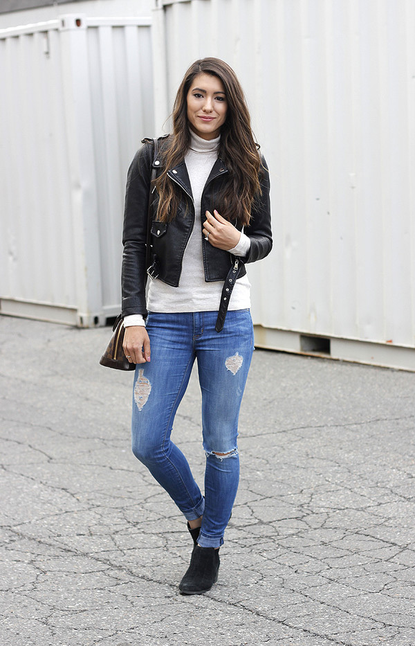 abf05a8f3b9e6 seekingsunshine blogger jacket jeans shoes skinny jeans black leather  jacket ankle boots white turtleneck top spring.