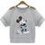 Grey Contrast Sheer Mesh Yoke Mickey Sequined T-Shirt - Sheinside.com