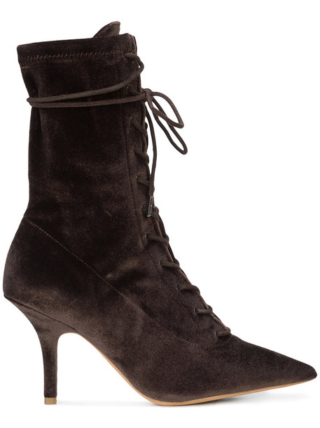 yeezy women ankle boots lace leather brown shoes