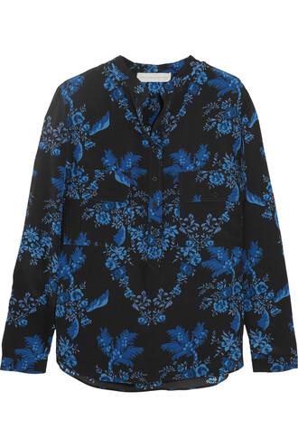 blouse floral print silk blue cobalt blue top
