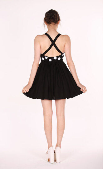 cross back dress backless polka dots sequins party outfits vintage her pony