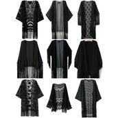 top,kimono,fringe kimono,black kimono,black keys