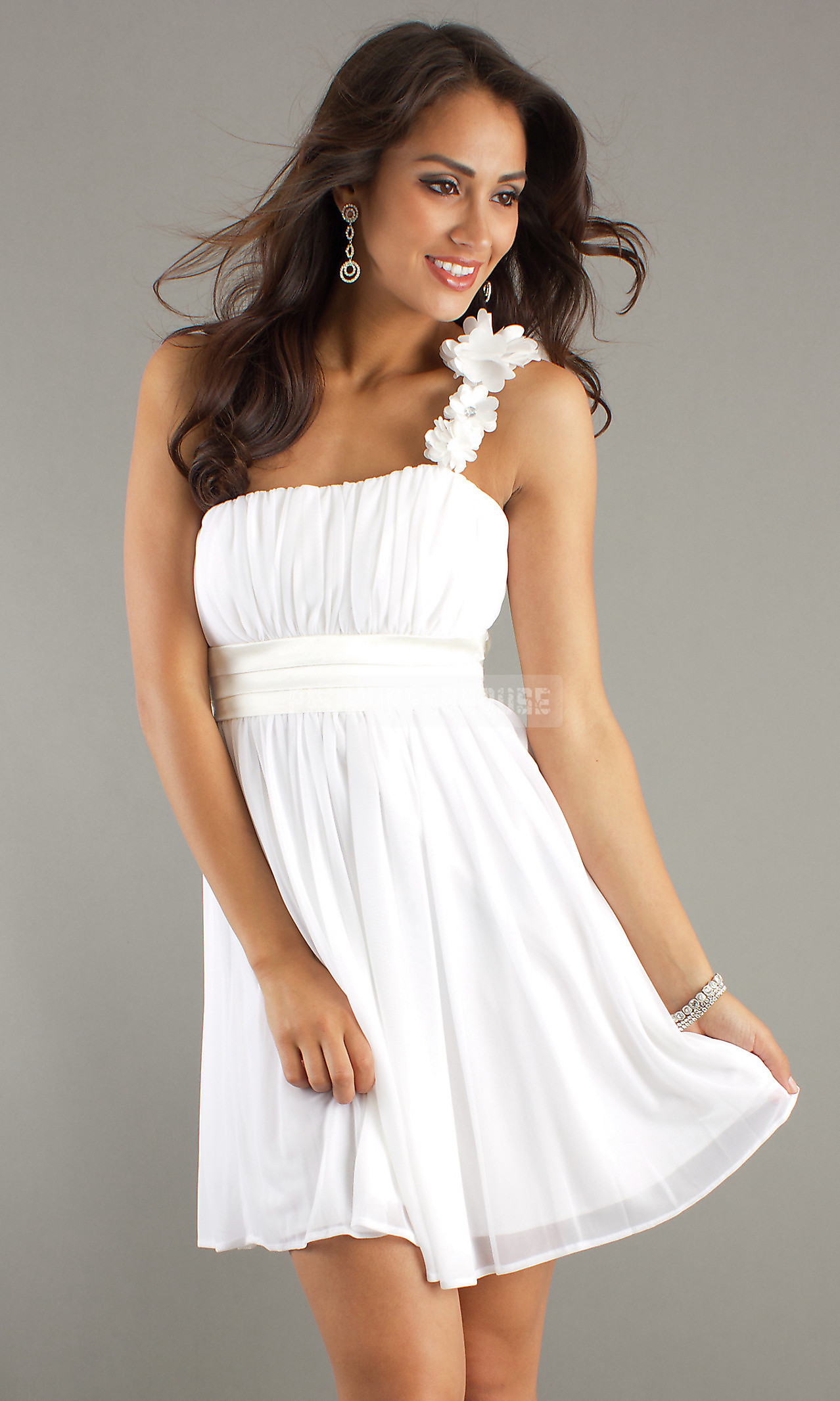 A-line Empire Flowers Graceful Ruching One Shoulder Prom Dress - Promdresshouse.com