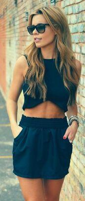 shorts,black,top,blouse,two-piece,navy,blue dress,coords,blue skirt,skirt,leather,black skirt
