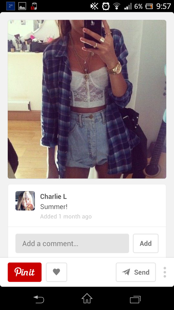 shirt bralet top corset bra lace bustier tartan shirt shorts distressed denim shorts tank top underwear