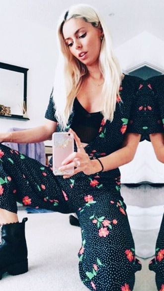 dress jumpsuit floral polka dots