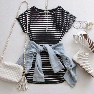 dress striped dress black white sandals white sandals crossbody bag summer fashion