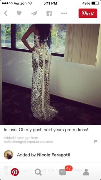 dress gold white prom