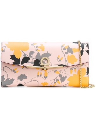 clutch floral print nude bag