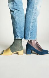 shoes,cute socks,straight jeans,mules,suede shoes,blue shoes,medium heels