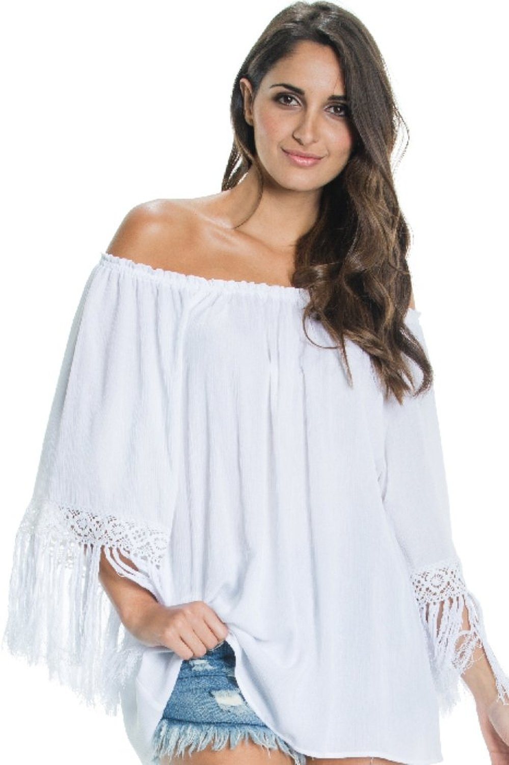 e3bf86383eb An Elan Usa Beautiful Off the Shoulder Ruffle Sleeve Fringe Top (RGF555) at Amazon  Women s Clothing store
