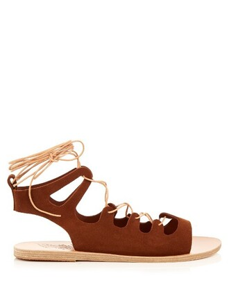 sandals lace suede brown shoes