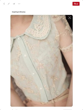 blouse shirt blue baby blue pearl lace button down pastel pastel blue classy elegant ladylike girly
