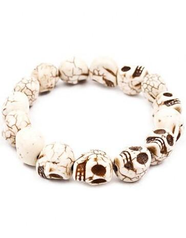 White carved stone skull stretch bracelet