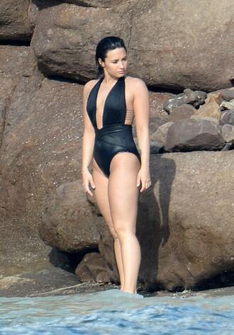 swimwear demi lovato summer beach one piece swimsuit black swimwear plunge v neck