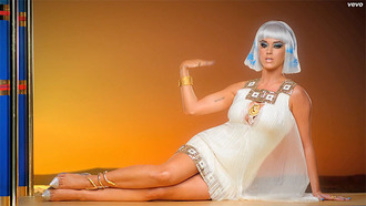 dress dark katy-patra sleeveless dark horse shoes katy perry music video sheer white dress metallic metalic squares