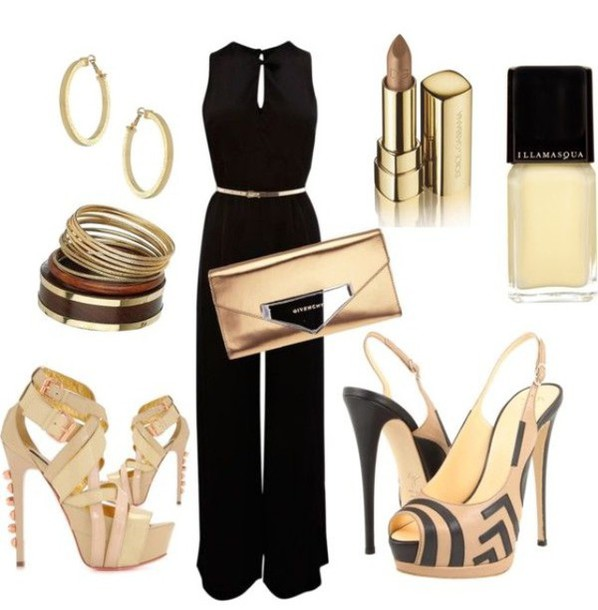 jumpsuit shoes jewels bag nail polish