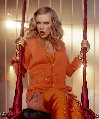 romper orange taylor swift music video boots top
