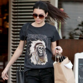 t-shirt,yeezus,kendall jenner,keeping up with the kardashians,casual,celebreties,streetwear,streetstyle,hipster,black,black clothing,ponytail,glasses,shopping