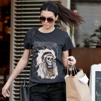t-shirt yeezus kanye west kendall jenner keeping up with the kardashians casual celebreties streetwear streetstyle hipster black black clothing ponytail glasses shopping