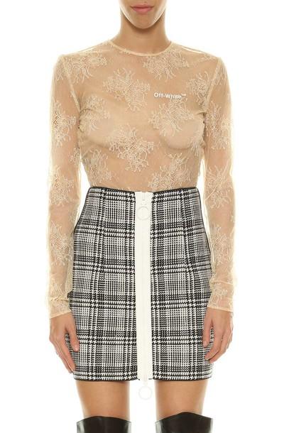 Off-White bodysuit lace bodysuit lace nude underwear