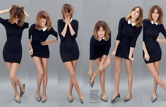 dress collared dress little black dress collar alexa chung short skinny