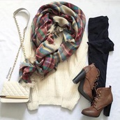 shoes,white,sweater,scarf,boots,booties,bags and purses,bag