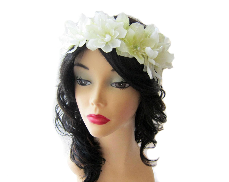 Flower head piece white flower crown floral hair circlet wedding wedding flower head piece white flower crown floral hair circlet wedding head wreath izmirmasajfo Images