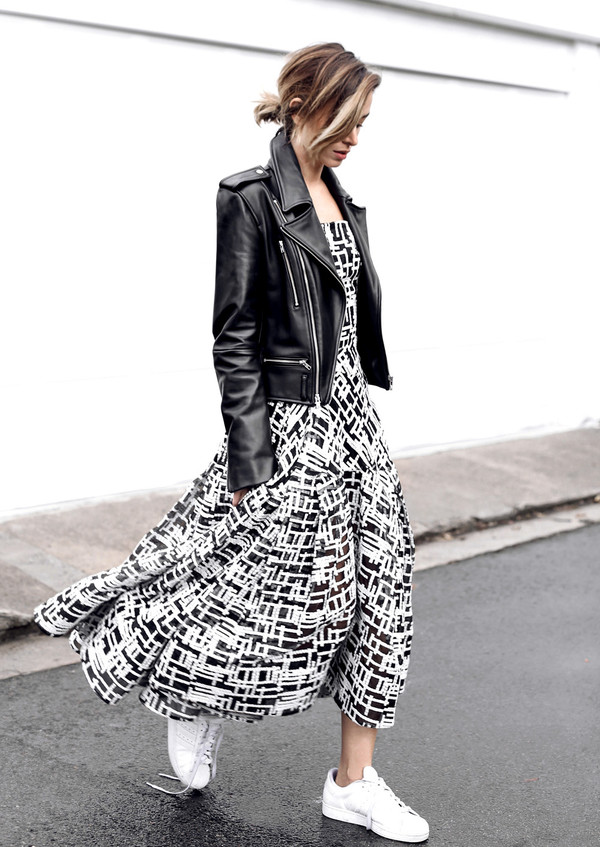 shoes white print dress leather jacket adidas shoes blogger