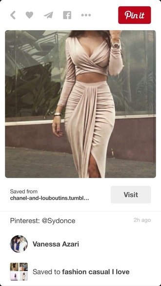 dress two-piece draped nude dress nude crop tops crop midi skirt skirt top body bodycon