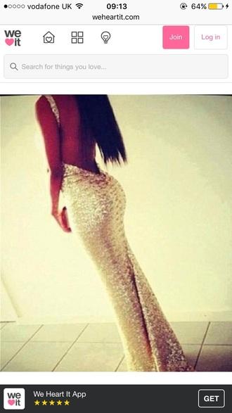 dress sparkle prom dress glitter backless long dress pretty girl